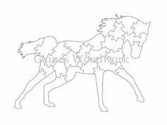 Fait à la main scie à chantourner Puzzle modèle - modèle de scie à chantourner imprimable téléchargement numérique - 25 pièces cheval en bois Puzzle motif