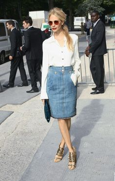 Denim pencil skirt / white blouse / summer heels
