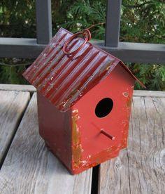 Hanging Metal Birdhouse*Antique RED*Primitive/French Country Farmhouse Decor #NaivePrimitive