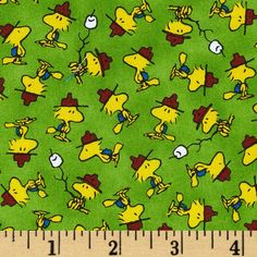 Camp Peanuts Woodstock Toss Green from @fabricdotcom  Designed by Peanuts Worldwide LLC for Quilting Treasures, this cotton print features a Woodstock motif. Perfect for quilting, apparel and home décor accents. Colors include green, yellow, brown, blue, black and white.