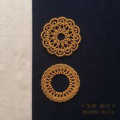 "99 Gostos, 9 Comentários - maimai kaito (@tatting_maimai) no Instagram: ""'the sun' and 'the harvest moon' #tatting #lace #doily #originalpattern #originaldesign #thesun…"""