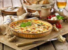 Tomato, mozzarella and basil quiche