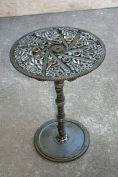 Table Made From Castofs Railroad Spikes And A Camshaft Leg By Kathi Borrego