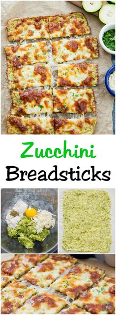 Zucchini Breadsticks. Zucchini crust bread topped with cheese. Delicious low carb alternative to regular breadsticks.(Healthy Low Carb Meals)