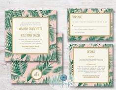 Palm Tree Leaf Printable Wedding Invitation DIY by SeaPaperDesigns. Palm print Invite emerald green, pink, and gold for a coastal, destination or beach wedding.