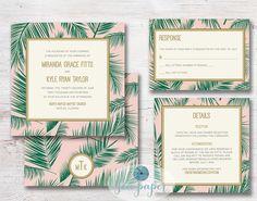 Palm Tree Leaf Printable Wedding Invitation DIY by SeaPaperDesigns. Palm print Invite emerald green, pink, and gold for a coastal, destination or beach wedding.