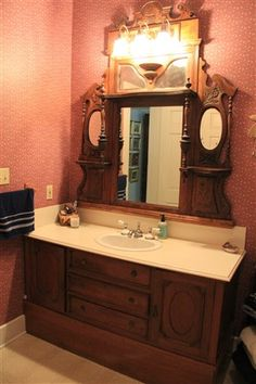Repurposed antique sideboard and mirror