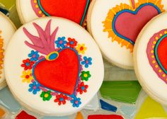 Fantastic cookies at a Frida Kahlo party.  See more party ideas at CatchMyParty.com.  #fridakahloparty