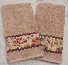 Custom Decorated Hand Towels Ralph Lauren Fabric by Owl Fabric, Sari Fabric, Dish Towel Crafts, Ralph Lauren Fabric, Towel Embroidery, Chabby Chic, Towel Wrap, Terry Towel, Hand Towels