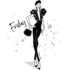 "MEGAN HESS on Instagram: ""Happy FRIDAY Everyone! Xxx"" Megan Hess Illustration, Princess Illustration, Illustration Art, Fashion Prints, Fashion Art, Girl Fashion, Fashion Sketchbook, Fashion Sketches, Chanel Decor"