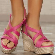 Sandales compensées fuchsia femme elasthomère talons de 11 cm taille 36, en vente sur la boutique en ligne Modatoi. Achetez en