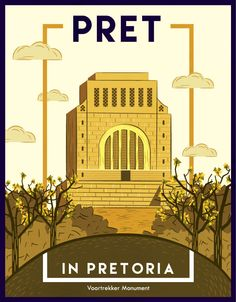 """Pret in Pretoria"" by Maggie de Vos ___postcards celebrating Pretoria. Vintage Architecture, Architecture Portfolio, Architecture Art, Art Deco Posters, Retro Posters, Commercial Art, Pretoria, Vintage Travel Posters, South Africa"