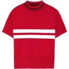 Tim Coppens Striped merino wool sweater ($150) ❤ liked on Polyvore featuring tops, sweaters, shirts, t-shirts, red striped shirt, merino sweater, striped crop top, cropped sweater and red crop top
