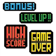 These 8 Bit Action Sign Cutouts highlight work of 8 bit games. Beach Party Games, Dinner Party Games, Sleepover Party, Video Game Decor, Video Game Party, Video Game Crafts, Retro Party, Birthday Party Decorations, Party Themes