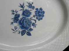 #Wedgwood Ironstone Serving Platter #Blue Rose Pattern Oval Plate 12x9.5 Vintage