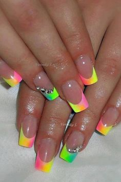 Nails french tip nails, french nail art, neon french manicure, french nail design Rainbow Nails, Neon Nails, Cute Acrylic Nails, Diy Nails, Neon Rainbow, Summer Nails Neon, Neon Nail Art, Acrylic Tips, Rainbow Swirl