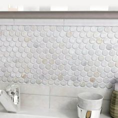 """EliteTile Shore Penny 0.98"""" x 0.98"""" Seashell Mosaic Tile"""