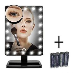 [New Version] FLYMEI® Touch Screen 20 LED Lighted Makeup Mirror with Removable 10x Magnifying Mirrors, Include AA Batteries (4 Pack) - http://centophobe.com/new-version-flymei-touch-screen-20-led-lighted-makeup-mirror-with-removable-10x-magnifying-mirrors-include-aa-batteries-4-pack/ -