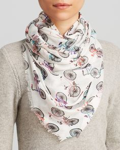 Bindya On a Whim Ride with Me Bicycle Scarf Jewelry & Accessories - Bloomingdale's Bicycle Print, Bike Wear, Cycle Chic, Scarf Jewelry, White Shirts, Fashion Books, Alexander Mcqueen Scarf, My Style, Pretty