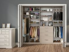 HAWTHORNE CLOSET- master closets, would require changing doors. Need more shoe & hanging areas