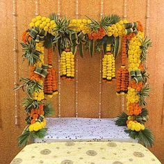 Yellow N Orange Marigold Decoration Naming Ceremony Decoration, Wedding Stage Decorations, Diwali Decorations, Festival Decorations, Flower Decorations, Ganpati Decoration Ideas, Ganesh Chaturthi Decoration, Housewarming Decorations, Rangoli Designs Flower