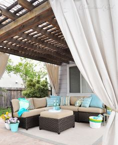 pergola with panels Bamboo fencing on top of the pergola; canvas drop cloth curtains with grommets on top. Pergola with drop cloth curtain drapes for privacy Outdoor Curtains, Outdoor Rooms, Outdoor Living, Outdoor Decor, Outdoor Kitchens, Outdoor Ideas, Outdoor Furniture, Pergola Swing, Deck With Pergola