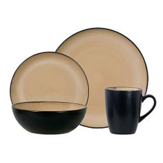 Gibson Everyday 16 pc Reactive Dinnerware Set - Taupe