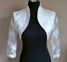 Lace & Satin Bolero Sleeves / Shrug / Wedding Jacket / Wrap Fully Lined - UK - Colours available : Ivory, White Bridal Bolero, Lace Bolero, African Traditional Wedding Dress, Wedding Jacket, Western Dresses, Classic Outfits, Lace Sleeves, Floral Lace, Baby Dress
