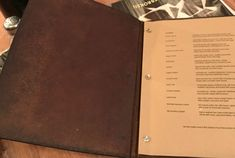 Leather-bound menus?