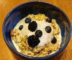 Overnight muesli served with yogurt and berries #food #breakfast #ahappycook #foodie #food