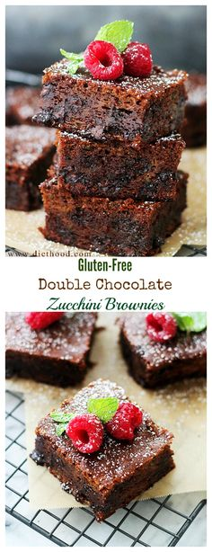 Decadent and fudgy Double Chocolate Brownies made with Zucchini! The perfect gluten free dessert recipe!