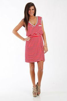 """Above Deck Dress, Red/Gray $44.00 This dress is a can't miss item! We always love horizontal stripes, and these colors are perfect for spring and summer. Plus, this top features so many great details... v neck in the front and back, gathered waistband and a front pocket! Where do we sign up?!   Fits true to size. Miranda is wearing a small.   From shoulder to hem:  Small - 33""""  Medium - 34""""  Large - 35"""""""