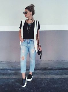 Fashion Fail, Girl Fashion, Fashion Looks, Boyfriend Look, Boyfriend Jeans, Cool Outfits, Casual Outfits, Look Jean, Relaxed Outfit