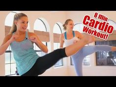8 Minute Fat Burning Cardio Workout  Full Body Stretch Fitness! How To ...