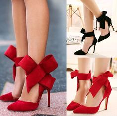 Big bow pointed Toe strap high thin heels Fashion Bridal Party Evening Shoes new #Unbranded #Heels