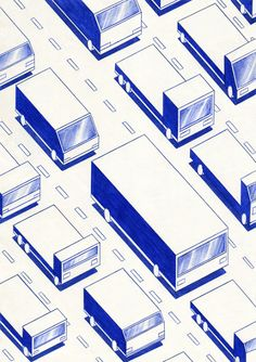 Traffic by Kevin Lucbert - icono Cero: Dibujantes, Mándalas futuristas de Kevin Lucbert. #iconocero #drawing #sketch #monochromatic #blue #dibujos #monocromaticos #azul