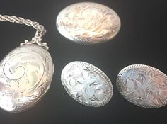 Vtg BIRKS Sterling Silver Floral Locket Pendant Necklace Pin Earring Set Rare  #BIRKS #Locket