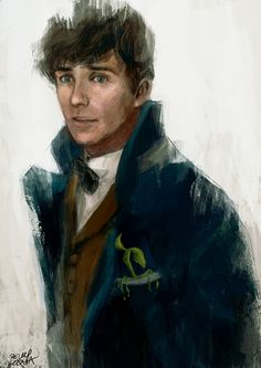 """I think you'll find the best wizarding school in the world is Hogwarts!"" Mr. English Guy (Newt) - Illustration by Relly Coquia"