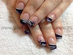 Gel nails, black, purple, white nails, hand painted nail art, crystal nail art by Shimmer Body Studio.