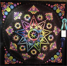 Quilt Inspiration: Fun in the Sun: Day 3 of the Arizona Quilters' Guild 2013 Show Star Quilts, Quilt Blocks, Machine Applique, Machine Embroidery, Star Patterns, Quilt Patterns, Block Patterns, Foundation Piecing, Star Flower