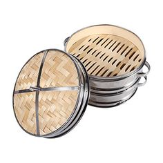 8 2 Tiers Bamboo Steamer Dim Sum Basket Rice Pasta Cooker Set Food Steamers With Lid