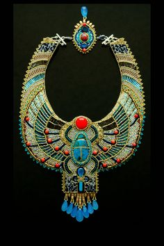 Egyptian Scarab Necklace   CUSTOM ORDER  Bead by LuxVivensFashion, $635.00