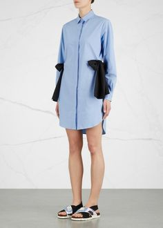 Blue bow-embellished shell shirt dress - All Clothing - Women - New In