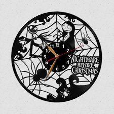 Vinyl Record Wall Clock Nightmare Before Christmas Jack Skellington Cartoon Nightmare Before Christmas Clock, Record Wall, Cool Clocks, Jack Skellington, Vinyl Records, Cartoon, Cool Stuff, Cool Watches, Cartoons