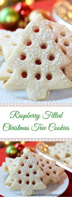 Raspberry Jam Christmas Tree sandwich Cookies. Use straw to cut 8-10 holes in half of cookies before baking. After baking & cooling spread solids cookies w/red jam & top with cookies with holes