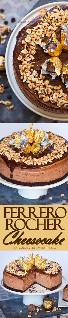 A decadent chocolate cheesecake, inspired by the famous Ferrero Rocher candy, made with a chocolate crust, hazelnut cheesecake and chocolate ganache! Rocher Chocolate, Decadent Chocolate, Chocolate Flavors, Chocolate Cake, Cuisinart Food Processor, Food Processor Recipes, Ferrero Rocher Cheesecake, Fererro Rocher, German Chocolate Cheesecake
