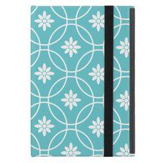 Teal Geometric Floral Pattern Case For iPad Mini