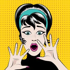 Scared pop art woman. With his mouth open and hands raised. Vector illustration , #AD, #woman, #mouth, #art, #Scared, #pop #ad