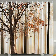 Shower Curtain Fabric Waterproof Bathroom maple Tree Design Polyester 12 Hooks
