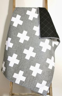 Really love the modern pallet and simplicity of this quilt. Essex Linen Cross Quilt. CB Handmade 2014